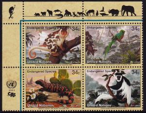 United Nations - 2001 - Scott #792a - MNH block of 4 - Endangered Species
