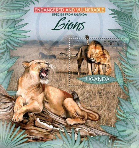 Uganda MNH S/S Lions Wild Cats Wildlife 2012