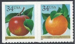 #3491-3492 34c Apple and Orange Booklet Pair 2001 Mint NH