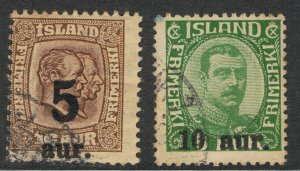 ICELAND 1921 - 25 SURCHARGE