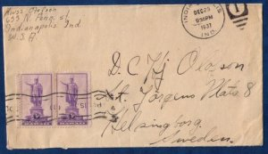 US Sc 799 Vert.Pair (1937) With Photo Letterhead Inside Indianapolis,IN Cachet