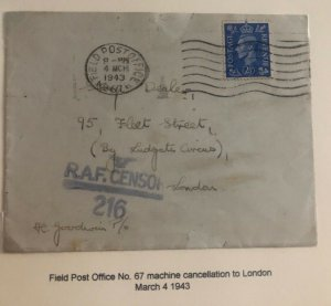 1943 British Field Post Office RAF Censored Cover To London England