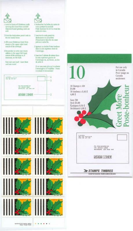 Canada - 1995 40c Christmas Greet More Booklet #BK186b