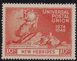 New Hebrides 1949 KGV1 10ct Orange Umm SG 64 Crease ( R339 )