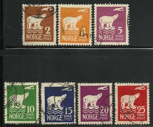 Norway # 104-110, Used