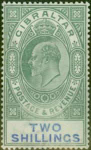 Gibraltar 1903 2s Green & Blue SG52 Fine & Fresh Lightly Mtd Mint (3)
