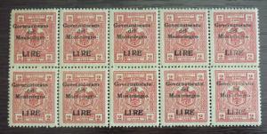 1942 ITALY OCCUP. MONTENEGRO-REVENUES-CAT. 200 EURO-BLOCK OF 10 R! yugoslavia J4