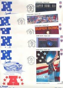 St Vincent 1991 American Football NFL Super Bowl Theme Art 25 S/S on 25 F
