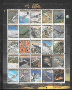 MARSHALL ISLANDS #600,617,641,666,708 MNH LEGENDARY AIRCRAFT Sheets