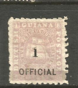 BRITISH GUIANA 1881  1 on 12c  SHIP  OFFICIAL   MH   SG 153