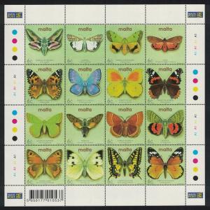 Malta Butterflies and Moths Sheetlet of 16v SG#1253-1268