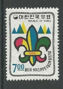 KOREA Sc#631 Boy Scouts 6th Far East Conference (1968) MNH