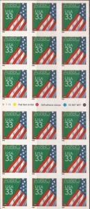 US Stamp - 1999 Classroom Flag - Booklet Pane of 18 Stamps #3283a