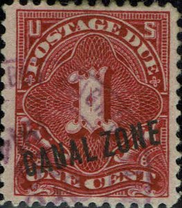 CANAL ZONE #J1 1914 CANAL ZONE OVERPRINT ON U.S. 1 CENT POSTAGE DUE ISSUE--USED