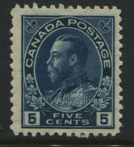 Canada KGV 1912 5 cents indigo Admiral scarce single mint o.g.