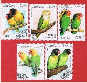 Laos #1312-1316  VF used  Parrots  short set   Free S/H