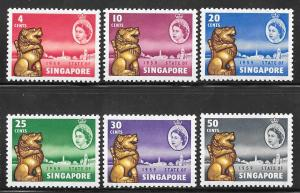 Singapore 43-48: Lion in Gold and Queen Elizabeth II, MH, MHR, F-VF