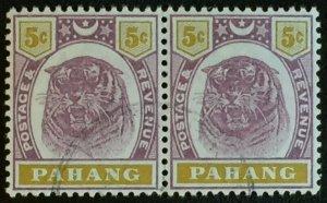 Malaya 1897 Pahang Tiger 5c pair Fine Used SG#16 M2439