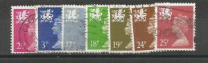 GREAT BRITAIN, WALES, Machins, used set of 7