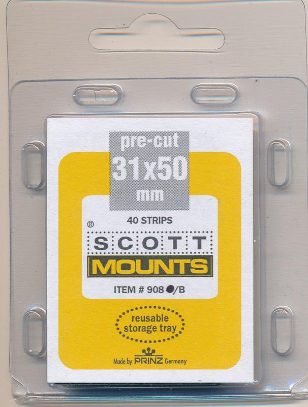 Prinz Scott Stamp Mounts Size 31 / 50 BLACK Pack of 40