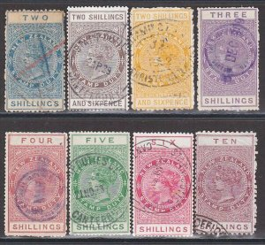 NEW ZEALAND 1880 Stamp Duty 8 values to 10/- used...........................C278