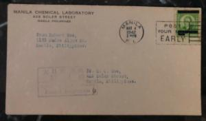 1942 Manila Philippines Japan Occupation Chemical Laboratory Censored Cover #N1