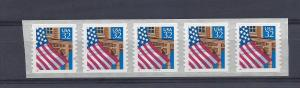 United States, 2915D, Flag/Porch Plate Strip of 5 Plt#: 11111,  **MNH**