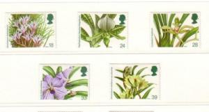 Great Britain Sc 1493-97 1993 Orchids stamp set mint NH