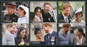 Jersey 2019 MNH Prince Harry & Meghan 1st Wedding Anniv 6v Set Royalty Stamps