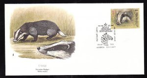 Flora & Fauna of the World #135a-stamp on FDC-Animals-Eurasian Badger-USSR-singl