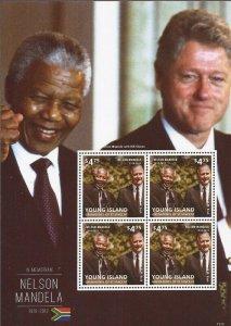St Vincent - Young Island 2013 Nelson Mandela - 4 Stamp Sheet SGY1313