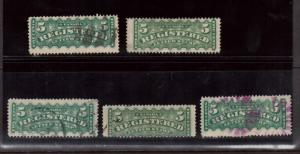 Canada #F2 & #F2 Variety Used Lot Of Five Sizes & Shades Plus 1 Lovely Cancel
