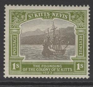 ST.KITTS-NEVIS SG55 1923 1/- BLACK & SAGE-GREEN MNH