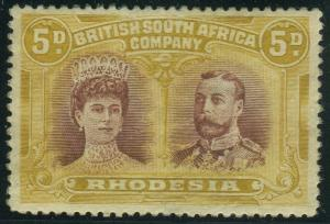 RHODESIA-1910-13 5d Purple Brown & Ochre ERROR.  A mounted mint example Sg 141ab
