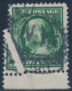 #331 VAR. USED 1¢ FRANKLIN W/ WIDE PRE-PRINT PAPERFOLD ERROR BR4917
