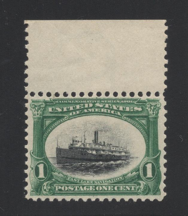 US#294 Green & Black - Margin Single - O. G. - N. H.