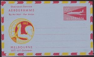AUSTRALIA 1962 World Power Conference 10d airletter unused..................3713
