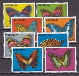 Paraguay, Scott cat. 1655 A-H. Butterflies issue. ^