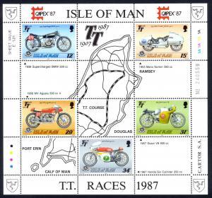 Isle of Man Sc# 339a MNH Souvenir Sheet 1987 Motorcycles