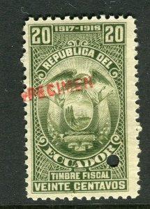 ECUADOR; Early 1917 fine Fiscal issue Mint MNH unmounted SPECIMEN 20c.