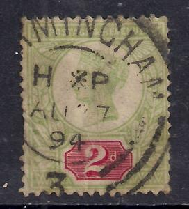 GB 1887 - 92 QV 2d Used Green/Red Jubilee SG 200 ( K738 )