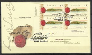 2003 Canada Sc1988 Quebec City/Seal of Sovereign Council of New France Pb4 FDC