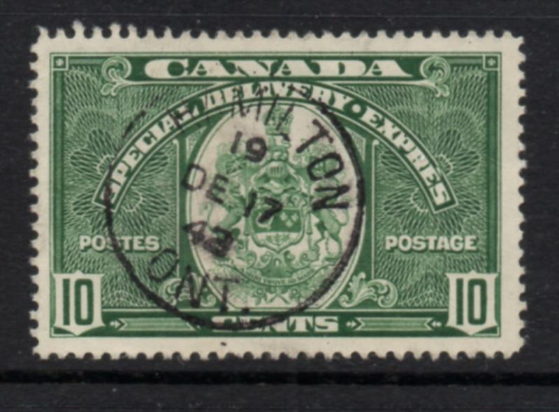 Canada Sc E7 1939 10c dark green Special Delivery stamp used
