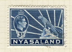 NYASALAND; 1938 early GVI issue fine used 3d. value