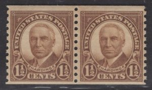 US Stamp #686 Coil Pair 1.5c Harding MINT NH SCV $5.75