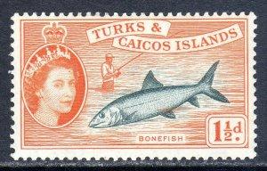 Turks & Caicos  1957   sg 238  1 1/2d  -  value  MM