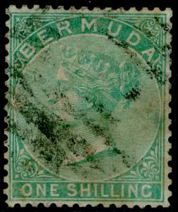 BERMUDA SG8, 1s Green Perf 14 WMK CC, USED. Cat £70.