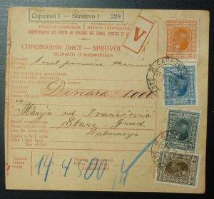 Yugoslavia 1928 Parcel Card from Sarajevo Bosnia to Stari Grad Croatia A17