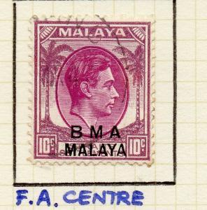 Malaya Straights Settlements 1945 Early Shade of Used 10c. BMA Optd 307953