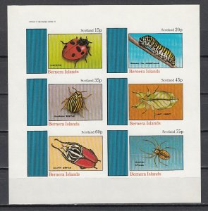 Bernera Is. 1982 Local issue. Various Insects, IMPERF sheet of 6.